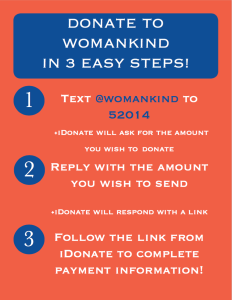 Donate to Womankind via Text Message!